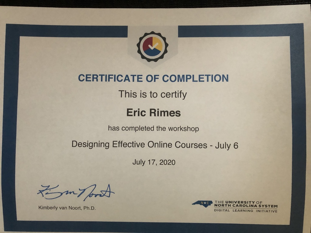 "Certificate of Completion for ""Designing Effective Online Courses"""